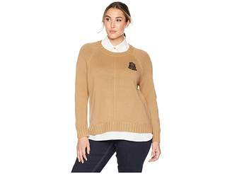 Lauren Ralph Lauren Plus Size Bullion-Patch Layered Shirt