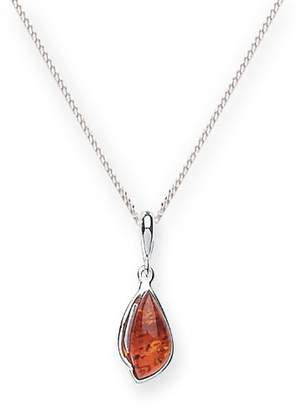 Goldmajor Sterling Silver and Amber Organic Shape Elegant Pendant on 45.7cm Curb Chain