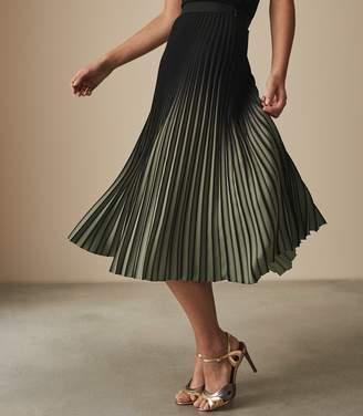 Reiss MARLIE OMBRE PLEATED MIDI SKIRT Black/khaki