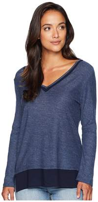 Vince Camuto V-Neck Woven Hem Layered Top Women's Blouse