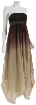 A.B.S. hazel ombré chiffon strapless gown