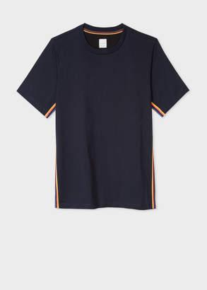 Paul Smith Men's Slim-Fit Navy T-Shirt With 'Artist Stripe' Webbing