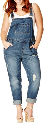 City Chic 'Over It All' Distressed Denim Overalls