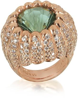 Azhar Rose Sterling Silver Riccio Ring w/White Cubic Zirconia and Green Stone