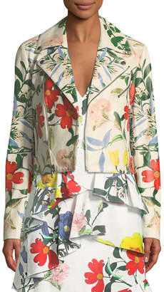 Alice + Olivia Cody Whimsy Floral-Print Leather Moto Jacket