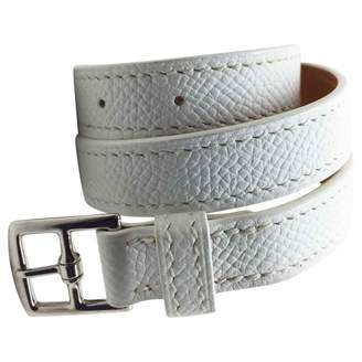 Hermes White Leather Bracelets