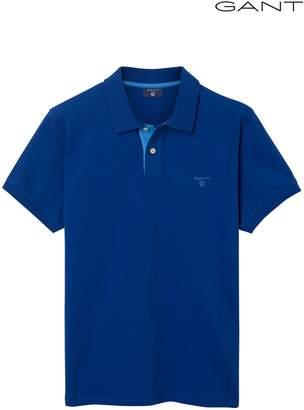 Next Mens GANT Yale Blue Contrast Collar Short Sleeved Pique Polo
