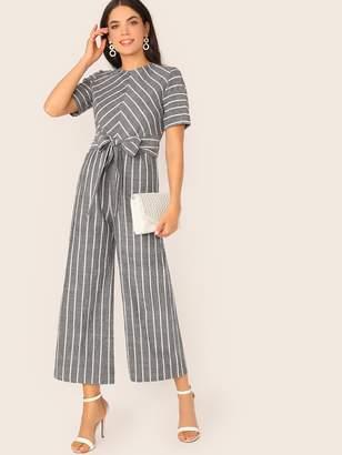 Shein Tie Waist Wide Leg Striped Jumpsuit