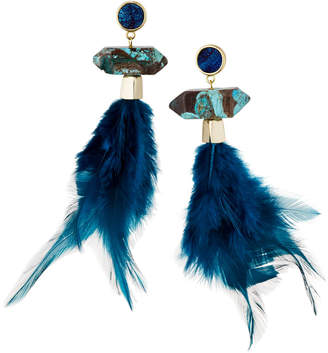 Panacea Druzy & Feather Drop Earrings