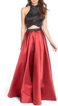 Women's La Femme Mock Two-Piece Ballgown $398 thestylecure.com
