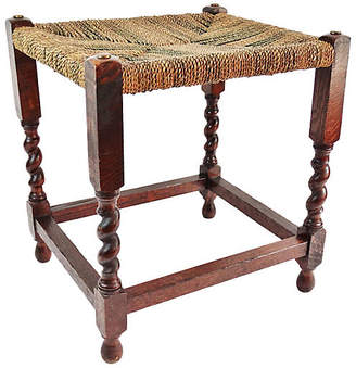 One Kings Lane Vintage English Oak Twist Stool - Faded Rose Antiques LLC