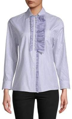 Burberry Ruffled Stripe-Print Cotton Shirt