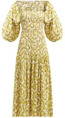 Rhode Resort Harper Shirred Floral Print Cotton Midi Dress - Womens - Yellow Print