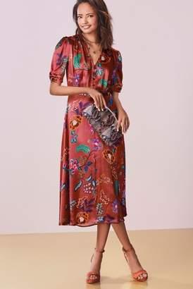 c1f4ccbe31 Next Womens Rust Floral Satin Button Through Dress