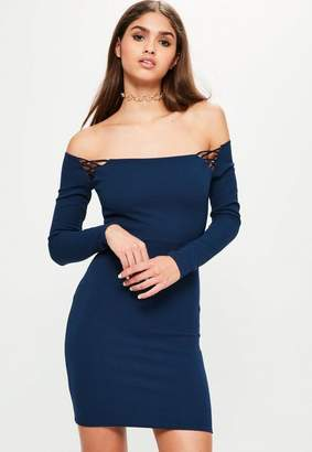 Missguided Navy Long Sleeve Bardot Shoulder Detail Dress