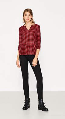 Esprit Check peplum shirt with stretch