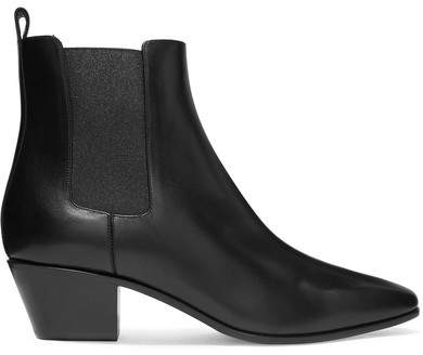 Saint Laurent - Rock Leather Ankle Boots - Black
