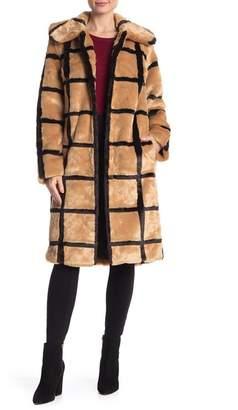AVEC LES FILLES Window Pane Faux Fur Coat