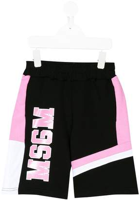 MSGM colour-block logo print track shorts