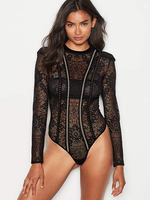 Very Sexy Embellished Lace Bodysuit