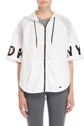 DKNY Zip-Up Mesh Raglan Poncho Sweatshirt