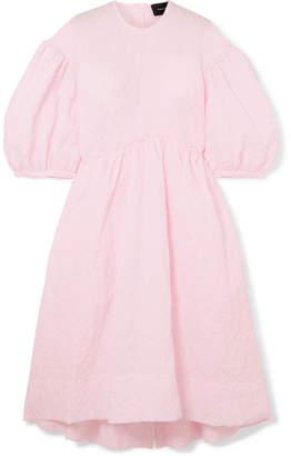 Simone Rocha Pleated Cloqué Midi Dress - Pink