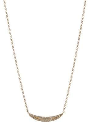Ron Hami 14K Yellow Gold Pave Diamond Sideways Crescent Pendant Necklace - 0.11 ctw