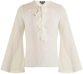 Giambattista Valli Contrast-sleeve silk-georgette blouse