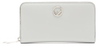 Fendi Logo Embellished Continental Leather Wallet - Womens - Light Blue