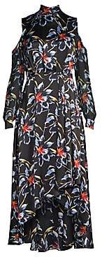 Diane von Furstenberg Women's Silk High-Low Cold Shoulder Floral Dress