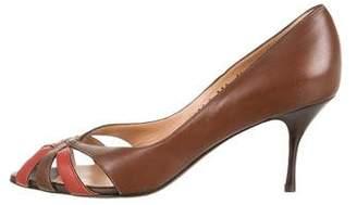 Salvatore Ferragamo Leather Peep-Toe Pumps
