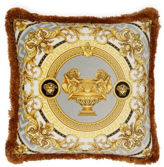 Versace La Coupe Des Dieux Silk Cushion - White Gold