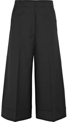 Lemaire Cropped Wool-twill Wide-leg Pants - Black