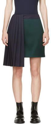 Mary Katrantzou Evergreen and Navy Pleat Jumbar Skirt