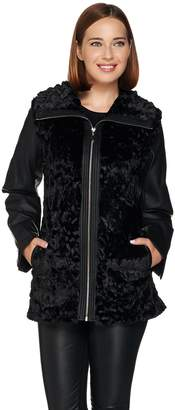 Dennis Basso Faux Fur Zip Front Jacket with Zip-Off Sleeves