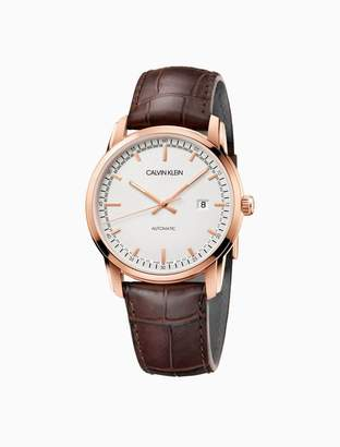 Calvin Klein Infinite Too Automatic Rose Gold Leather Watch
