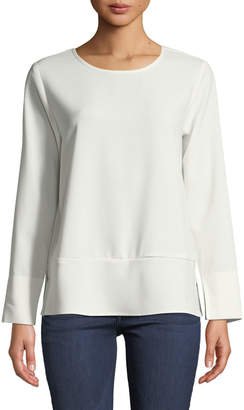 Lilla P Long-Sleeve Crewneck Crepe Blouse