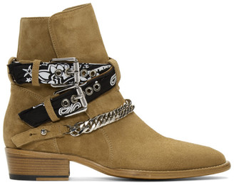 Amiri Tan Bandana Buckle Boots