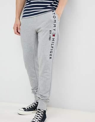 Tommy Hilfiger flag logo leg cuffed joggers in gray marl