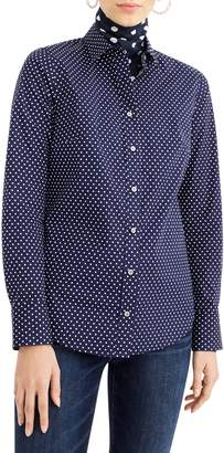 J.Crew Polka Dot Slim Stretch Perfect Shirt