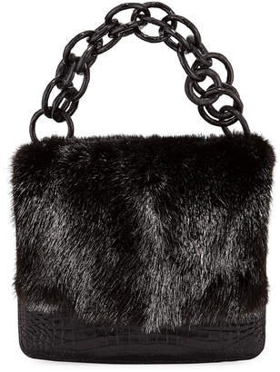 Nancy Gonzalez Nicola Crocodile & Mink Fur Clutch Bag