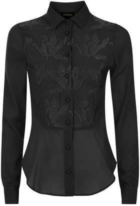 La Perla Daily Looks Black Stretch Silk Georgette Shirt With Floral Embroidery
