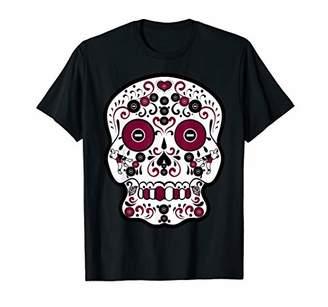 Maroon and Wrestling Sugar Sports Skull T-Shirt