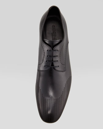 Giorgio Armani Perforated Wing-Tip Blucher, Black