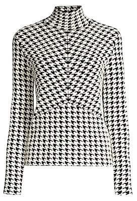 Escada Women's Sapir Wool-Blend Houndstooth Turtleneck Sweater