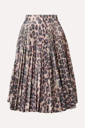Calvin Klein Pleated Leopard-print Taffeta Midi Skirt - Beige