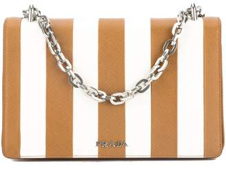 Prada Caramel Saffiano Stripe Motif Shoulder Bag (New with Tags)