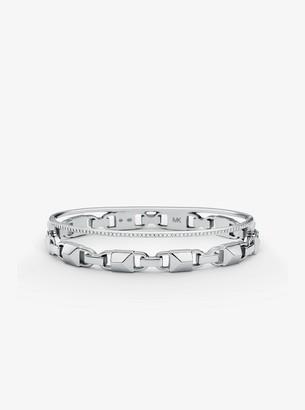 Michael Kors Precious Metal-Plated Sterling Silver Mercer Link Pave Halo Bangle