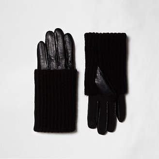 River Island Black knit layer leather gloves