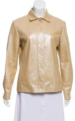 Loewe Leather Point-Collar Jacket